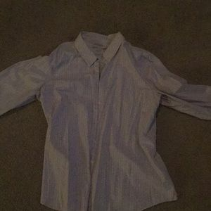 Striped purple button down blouse
